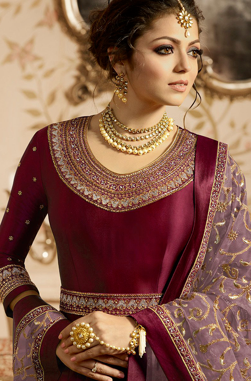 Dark Wine & Mauve Designer Embroidered Satin Anarkali Suit-Saira's Boutique