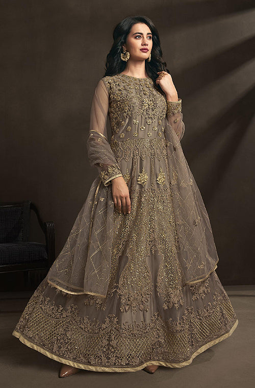 Deep Taupe Designer Heavy Embroidered Net Anarkali Suit-Saira's Boutique