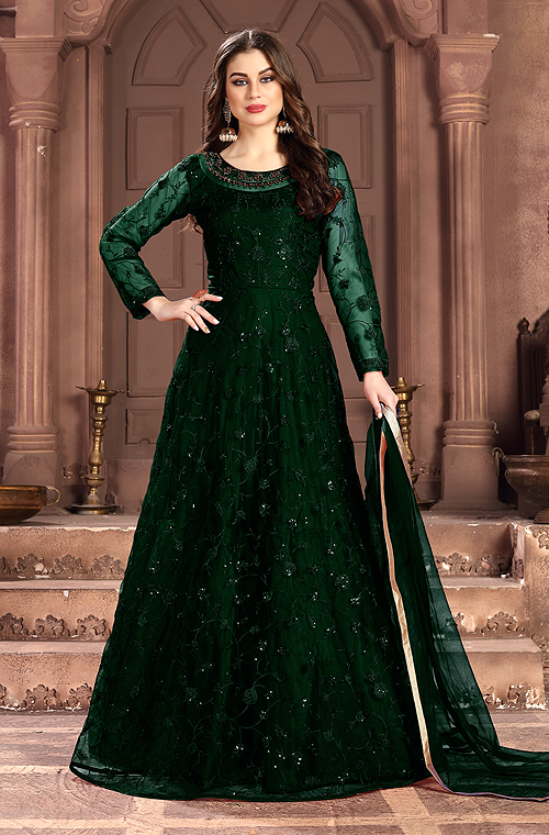 Deep Green Designer Heavy Embroidered Net Wedding Anarkali Suit-Saira's Boutique