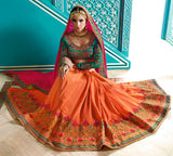 Deep Pink & Orange Designer Embroidered Bridal Silk Saree-Saira's Boutique