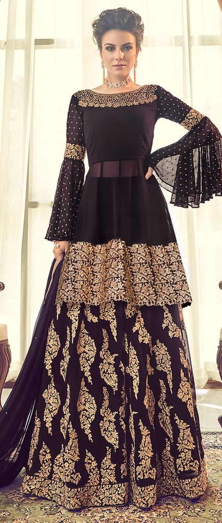 Deep Purple & Gold Designer Heavy Embroidered Georgette Palazzo Suit-Saira's Boutique