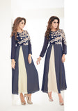 Denim Blue Designer Embroidered Georgette Kurti