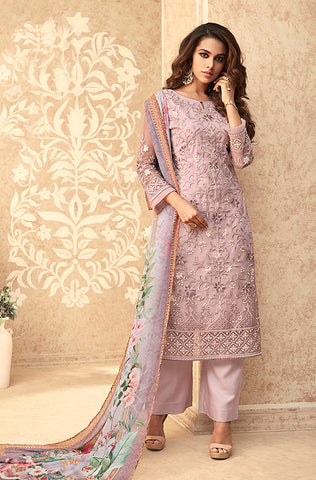 Dusty Mauve Designer Embroidered Party Wear Pant Suit