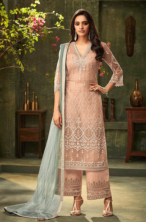 Dull Salmon Peach & Dusty Blue Designer Embroidered Palazzo Suit-Saira's Boutique