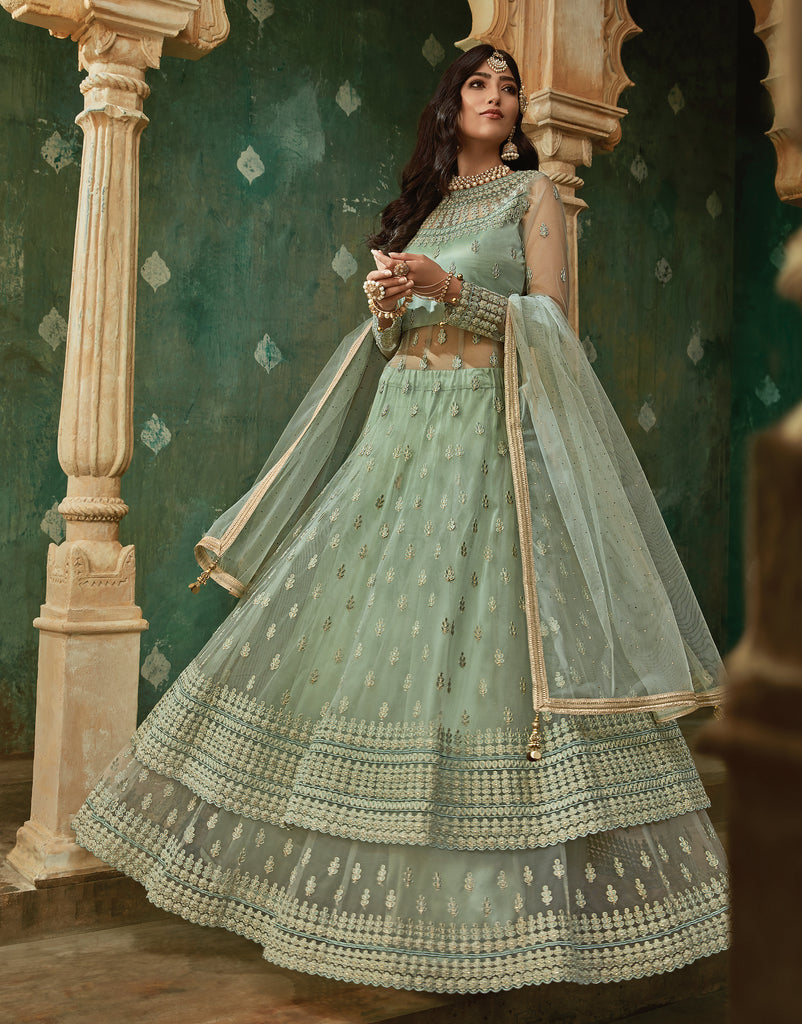 Dull Sea Green Designer Embroidered Net Lehenga Style Anarkali Suit-Saira's Boutique