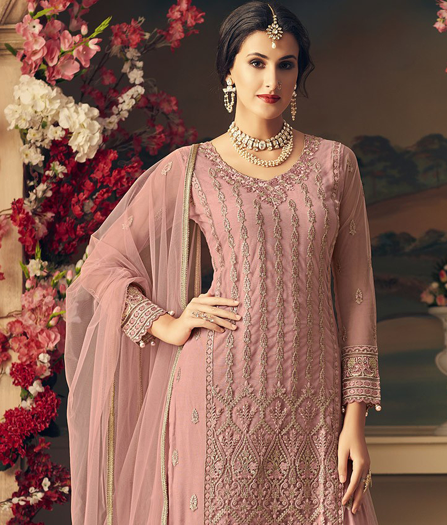 Dull Pink Designer Heavy Embroidered Net Sharara Suit