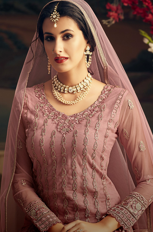 Dull Pink Designer Heavy Embroidered Net Sharara Suit-Saira's Boutique