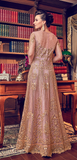 Dull Rose Pink Designer Heavy Embroidered Net Bridal Anarkali Gown-Saira's Boutique