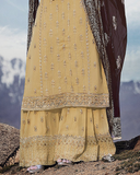 Dull Yellow & Brown Designer Embroidered Georgette Sharara Suit-Saira's Boutique