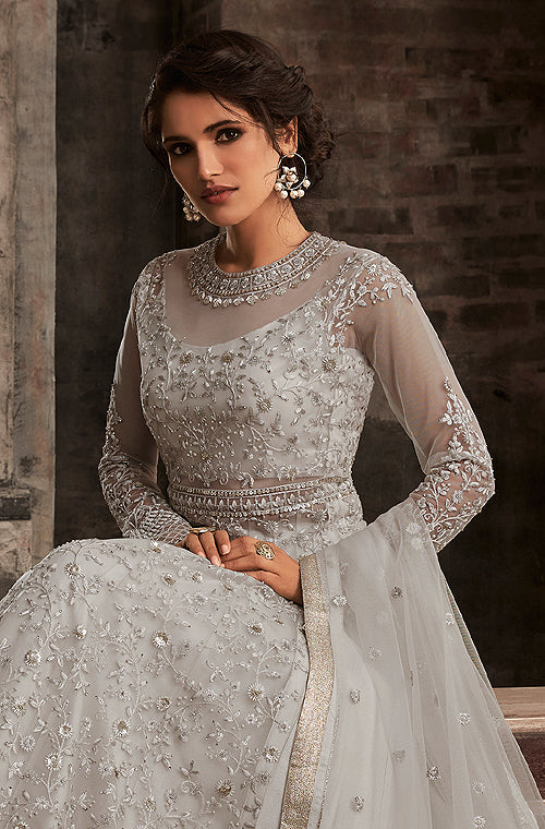 Dusty Gray Designer Embroidered Net Lehenga Style Anarkali Suit-Saira's Boutique