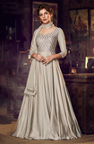 Dusty Gray Designer Embroidered Satin Anarkali Gown-Saira's Boutique