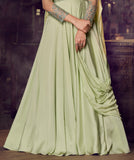 Dusty Green Designer Embroidered Satin Anarkali Gown-Saira's Boutique