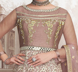 Dusty Mauve Rose Designer Embroidered Wedding Anarkali Suit-Saira's Boutique