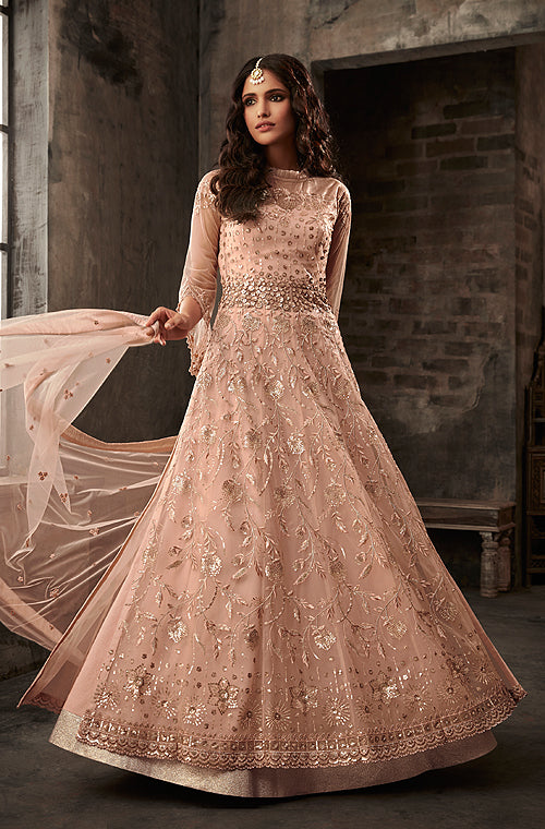 Dusty Peach Designer Embroidered Net Lehenga Style Anarkali Suit-Saira's Boutique