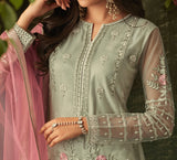 Dusty Sage Green & Pink Designer Embroidered Palazzo Suit-Saira's Boutique