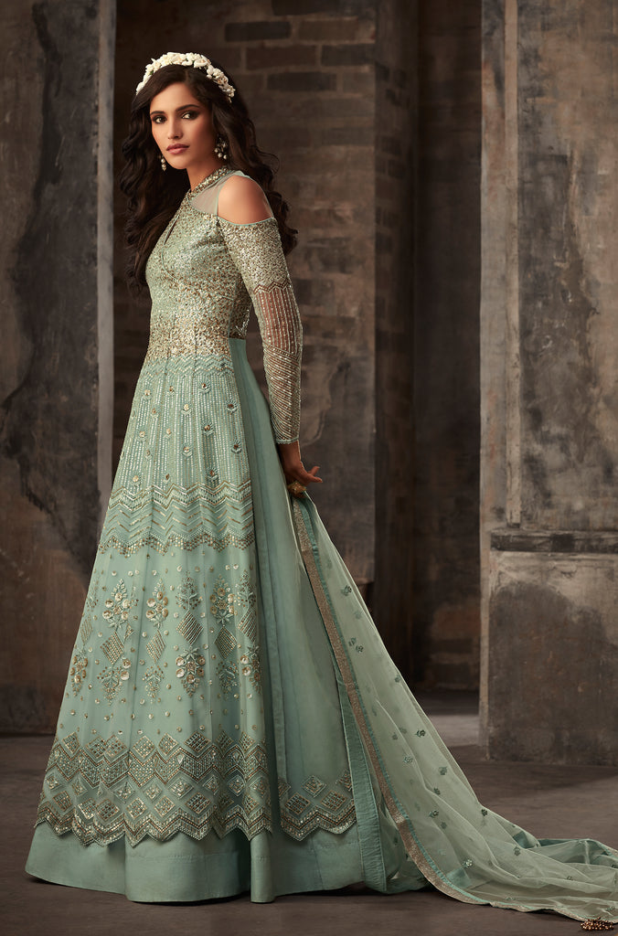 Dusty Sea Green Designer Embroidered Net Lehenga Style Anarkali Suit-Saira's Boutique
