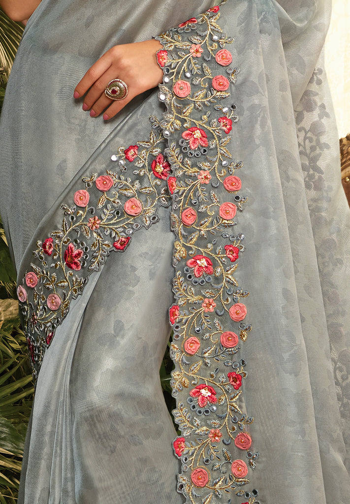Dusty Slate Blue Designer Embroidered Organza Party Wear Saree-Saira's Boutique