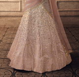Dusty Mauve Designer Heavy Embroidered Net Wedding Lehenga-Saira's Boutique