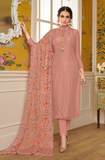 Dusty Pink Designer Embroidered Silk Party Wear Pant Suit-Saira's Boutique
