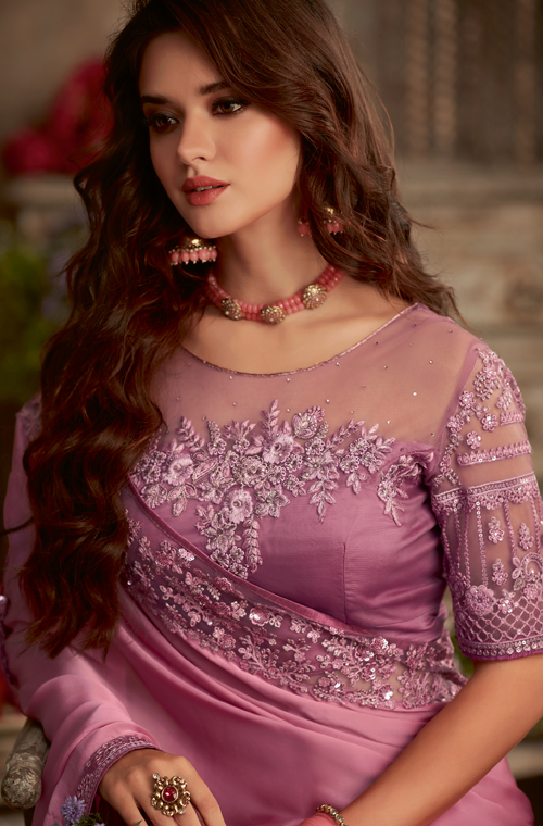 Dusty Rose & Mauve Designer Embroidered Silk Party Wear Saree-Saira's Boutique
