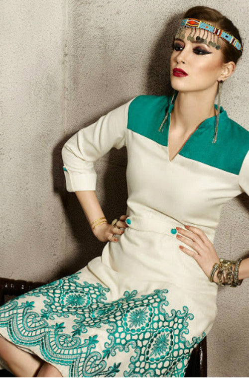 Cream & Green Embroidered Pashmina Kurti-Saira's Boutique