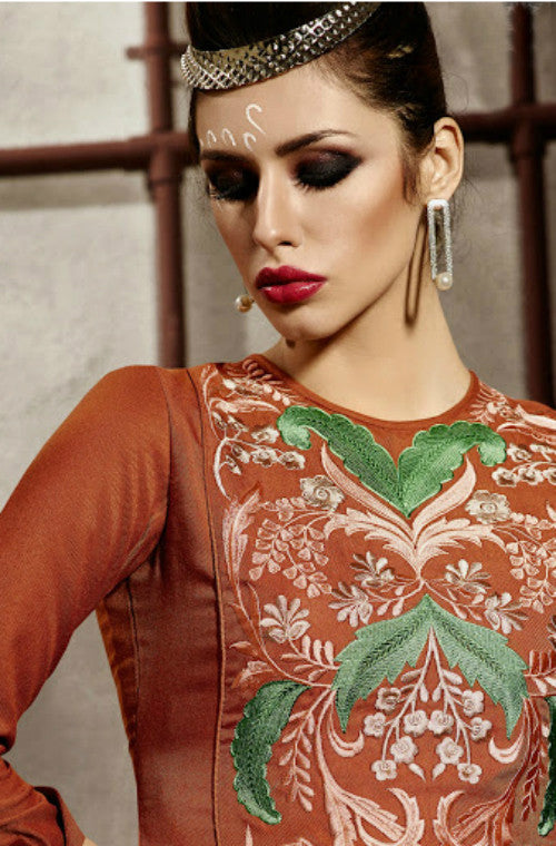 Dark Orange Embroidered Pashmina Kurti-Saira's Boutique