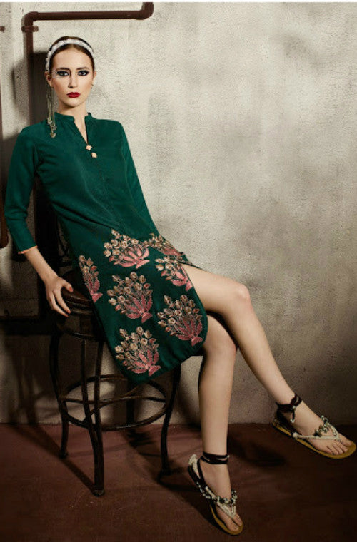 Green Embroidered Pashmina Kurti-Saira's Boutique