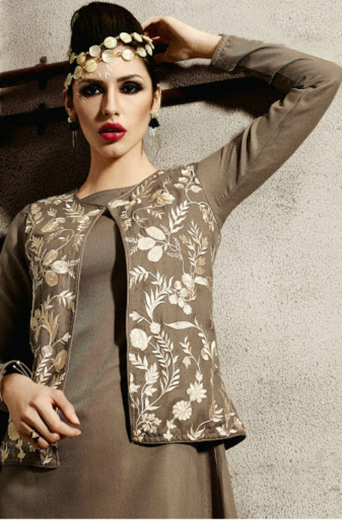 Brown Embroidered Pashmina Kurti-Saira's Boutique