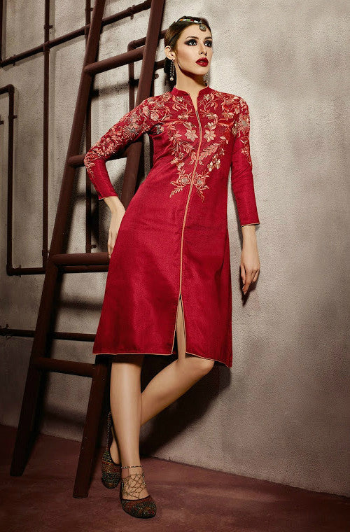 Red Embroidered Pashmina Kurti - Saira's Boutique - 1