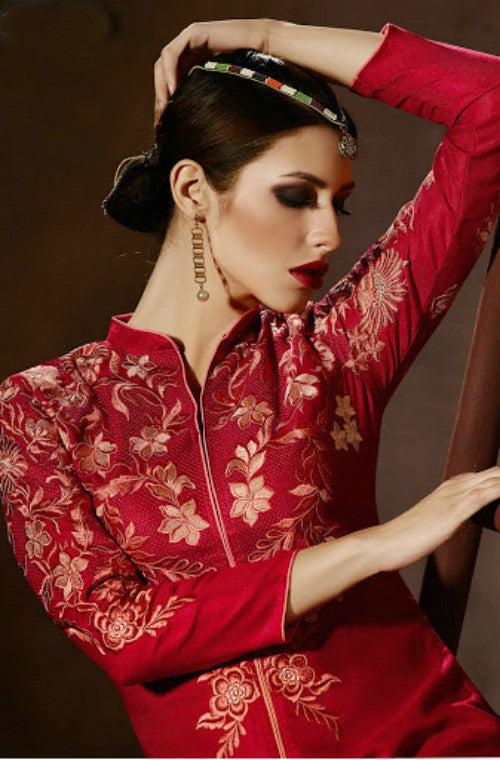 Red Embroidered Pashmina Kurti - Saira's Boutique - 2