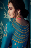 Eastern Blue Designer Embroidered Satin Silk Anarkali Suit-Saira's Boutique