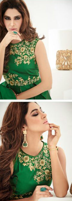 Emerald Green Designer Embroidered Georgette Indo-Western Dress-Saira's Boutique