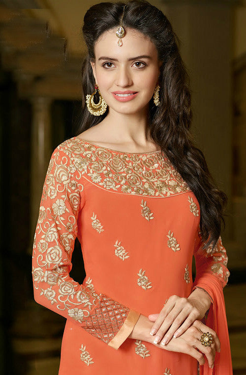 Orange Georgette Designer Pant Suit - Saira's Boutique