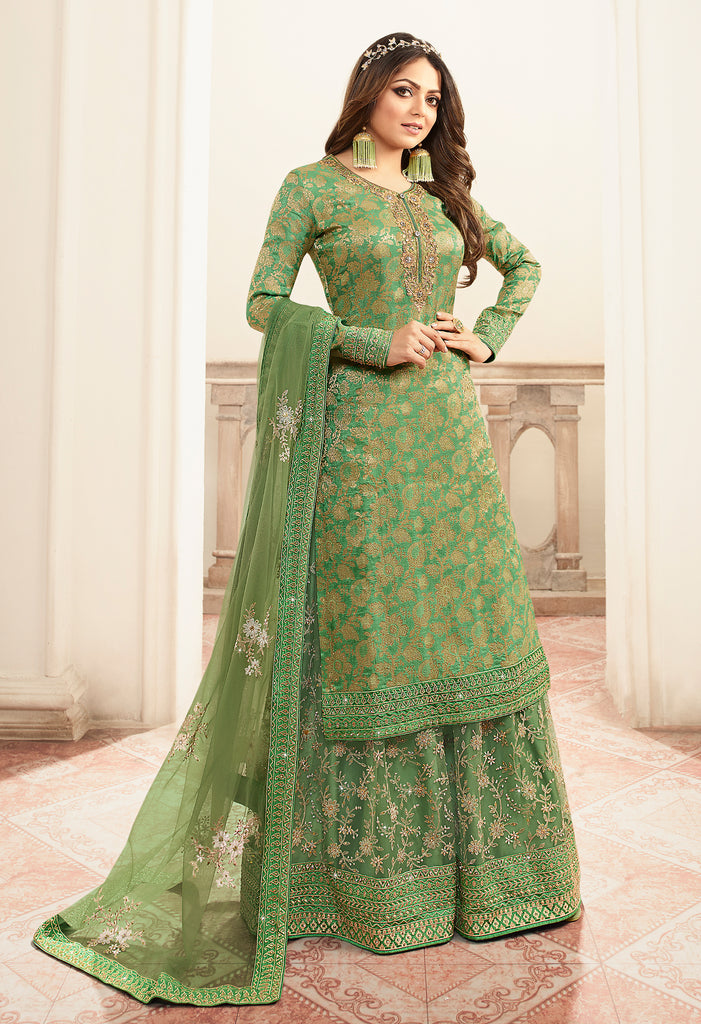Fern Green Designer Embroidered Jacquard Sharara Suit-Saira's Boutique