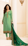 Fern & Dark Green Designer Embroidered Crepe Churidar Suit