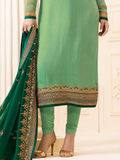 Fern & Dark Green Designer Embroidered Crepe Churidar Suit-Saira's Boutique