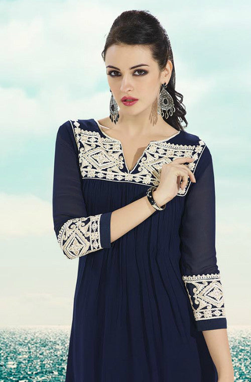 Navy Blue Embroidered Georgette Kurti-Saira's Boutique