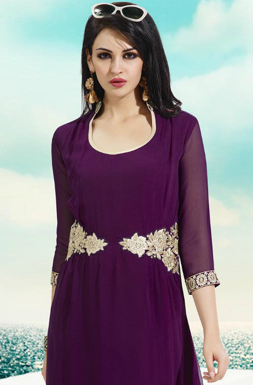 Purple Embroidered Georgette Kurti-Saira's Boutique