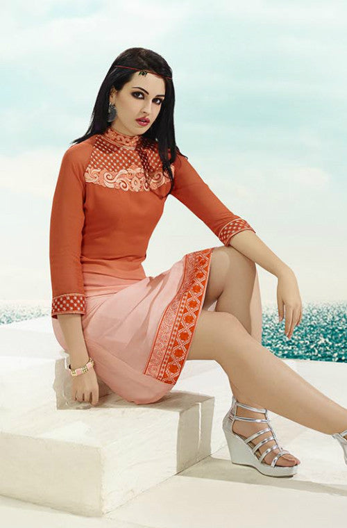 Pink & Orange Embroidered Georgette Kurti-Saira's Boutique