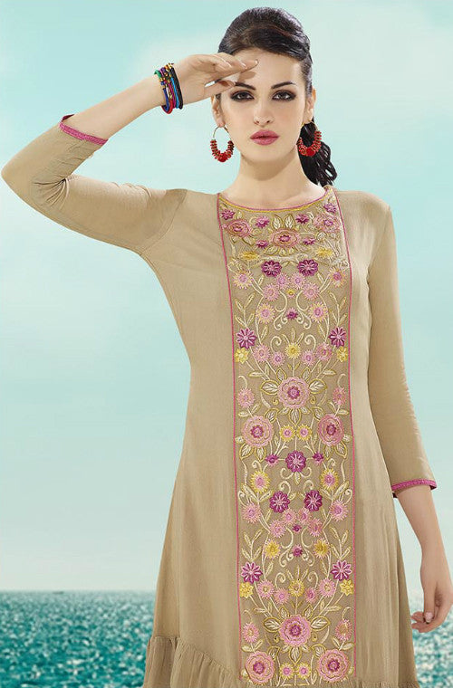 Beige Designer Embroidered Georgette Kurti-Saira's Boutique