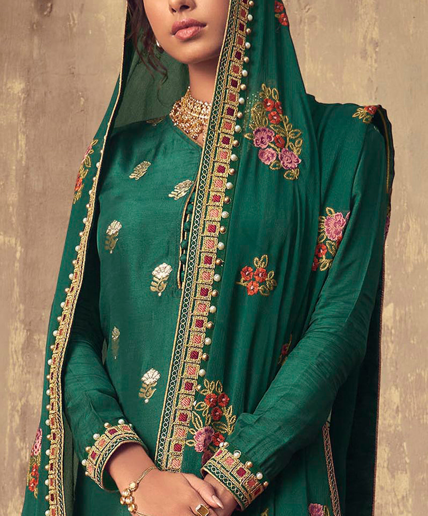 Forest Green Designer Embroidered Party Wear Palazzo Suit-Saira's Boutique