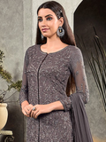 Fossil Gray Designer Heavy Embroidered Georgette Wedding Pant Suit-Saira's Boutique