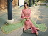 French Rose & Light Green Designer Embroidered Wedding Palazzo Suit-Saira's Boutique