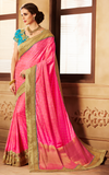 Fuchsia Pink & Blue Designer Embroidered Fancy Party Wear Saree