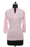 Light Pink Georgette Top with Chikankari Embroidery - Saira's Boutique - 1