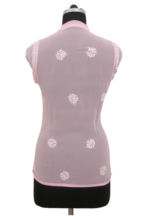 Light Pink Georgette Top with Chikankari Embroidery - Saira's Boutique - 2