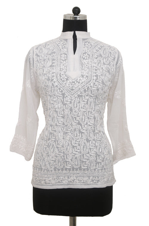 White Georgette Top with Chikankari Embroidery - Saira's Boutique - 1
