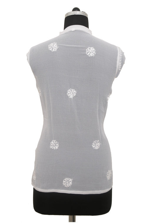 White Georgette Top with Chikankari Embroidery - Saira's Boutique - 2