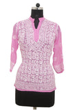 Pink Georgette Top with Chikankari Embroidery-Saira's Boutique