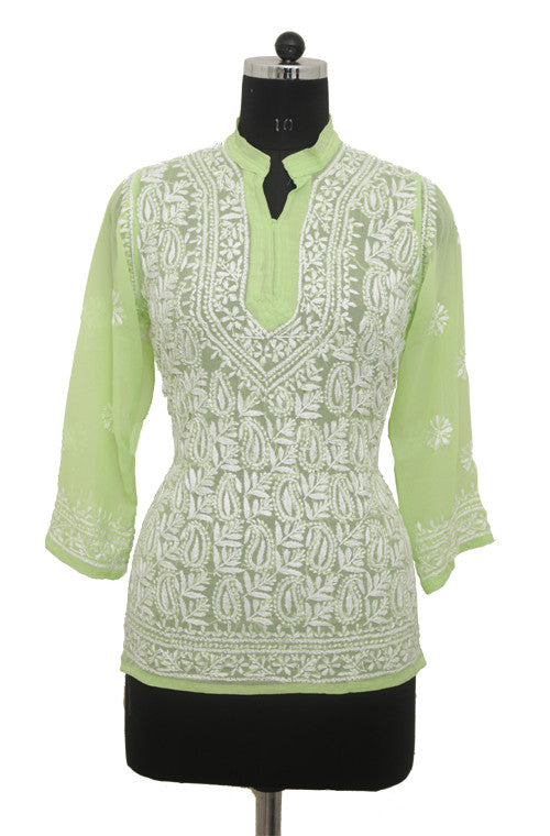 Light Green Georgette Top with Chikankari Embroidery - Saira's Boutique - 1